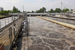 Wastewater. Treatment plant aerating basin Stock Photo