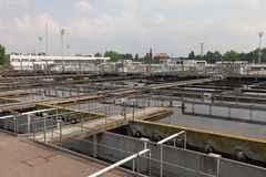 Wastewater. Treatment plant aerating basin Royalty Free Stock Photo