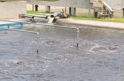 Wastewater treatment plant aerating basin. Stock Photos