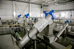 Wastewater treatment plant. Filter equipment for sewage treatment from solid impurities.  Stock Photos