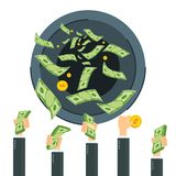 Wasting money concept. Cash flow. Banknotes fly away into black hole. Bankruptcy and collapse of monetary system. Flat vector cartoon cash flow illustration Stock Image