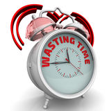 Wasting time. The alarm clock with an inscription. Alarm clock with the red words `WASTING TIME`. 3D Illustration Royalty Free Stock Images