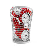 Wasting Time Concept. Isolated on white background. 3D render Royalty Free Stock Photos