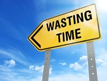 Wasting time sign. On blue sky background,3d rendered Stock Photography
