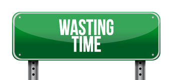 Wasting time sign concept illustration. Isolated over white Royalty Free Stock Photo