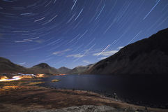 Wastwater by night. An hour long exposure of the stars at wastwater in the lake district Royalty Free Stock Images