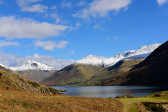 Wastwater with snow capped  Lingmell, Scafell pike and Scafell Royalty Free Stock Image