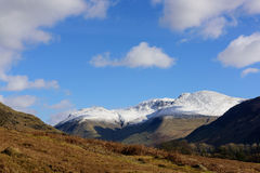 Wastwater with snow capped  Lingmell, Scafell pike and Scafell Royalty Free Stock Photography