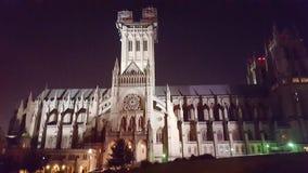 Waszyngtońska Krajowa katedra przy nocą Zdjęcie Royalty Free