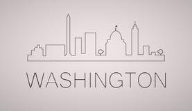Waszyngtońskiej dc miasta linii horyzontu czarny i biały sylwetka również zwrócić corel ilustracji wektora Zdjęcie Royalty Free