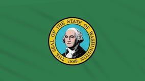 Waszyngton flaga trzepocze w wiatrze, pętla dla tła