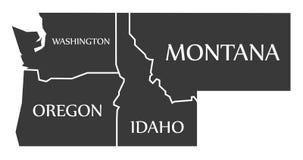 Waszyngton, Oregon, Idaho, Montana mapa przylepiający etykietkę czerń - - ilustracja wektor