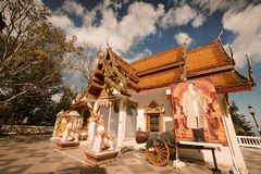 Wat土井Inthanon寺庙在清迈,泰国 2016年12月 图库摄影