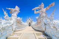 Wat在Chiangrai省,泰国的Rong Khun 免版税库存图片