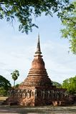 Wat张lom在Sukhothai历史Pa附近的大象雕象 库存图片