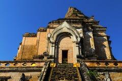 Wat的Che Di Luang古老塔在清迈,泰国 免版税库存图片
