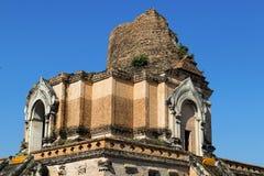 Wat的Che Di Luang古老塔在清迈,泰国 免版税库存照片