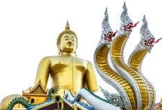 Wat的Muang Angthong最大的菩萨在泰国 库存照片
