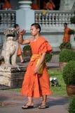 Wat的Prasing,清迈,泰国和尚 库存图片