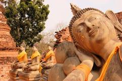 Wat的Putthaisawan,阿尤特拉利夫雷斯斜倚的菩萨 库存图片