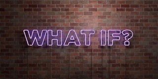 WAT ALS? - fluorescent T.L.-buisteken op metselwerk - vooraanzicht - 3D teruggegeven royalty vrij voorraadbeeld stock illustratie