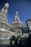 Wat Arun. The town's landmark of Bangkok, the capital of Thailand, against dark blue sky stock image