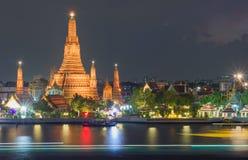 Wat Arun, Bangkok. Wat Arun, Temple of the dawn with night lights by Chao Praya river, Bangkok stock photos