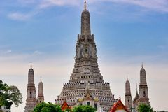 Wat Arun in Bangkok Thailand. This unique photo shows the Buddhist landmark of Bangkok the Wat Arun temple royalty free stock images