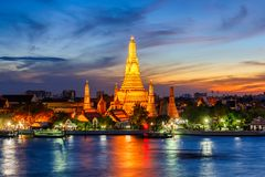 Wat Arun Buddhist religious places in twilight time, Bangkok. Thailand stock photography