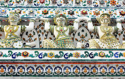 Wat Arun buddhist temple, Bangkok, Thailand - detail royalty free stock photo