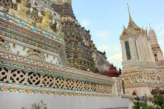 Wat Arun buddhist temple, Bangkok, Thailand - detail stock images