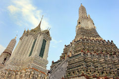 Wat Arun buddhist temple, Bangkok, Thailand - detail royalty free stock photos