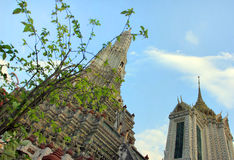 Wat Arun buddhist temple, Bangkok, Thailand - detail stock photo