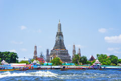 Wat Arun and long tail motor boat cruise on river in Bangkok Stock Photo