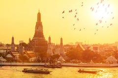 Wat-arun mit Fliegenvögeln im Sonnenuntergang in Bangkok, Thailand Stockbild