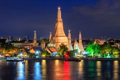 Wat arun night view temple in bangkok. Thailand Stock Photo