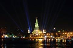 Wat Arun Rajwararam και φωτισμός στη νύχτα Στοκ Φωτογραφία