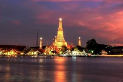 Wat Arun Rajwararam. Shoot From River Side Royalty Free Stock Photography