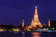 Wat Arun Rajwararam temple. One of the best temple inside Bangkok in Thailand. the panoramic view of the city along the river Stock Images