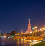 Wat Arun river side with Chao Phraya River in Bangkok Stock Photo