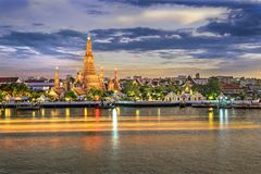 Wat Arun. Shoot From Chao Phraya Riverside Stock Photo