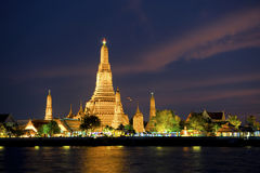 Wat Arun at Songkran. Wat Arun near Chao Phraya river while festivity to the thai Songkran ceremonies Stock Photos