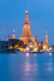 Wat Arun Temple along with waterfront. During twilight Royalty Free Stock Photography