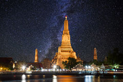 Wat Arun temple on the background of the starry sky. Bangkok. Royalty Free Stock Photography