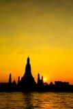 Wat Arun Temple in bangkok thailand. Wat Arun Rajwararam and Chao Phraya river in the evening scene, Thailand Stock Photography