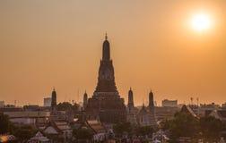 Wat Arun Temple Bangkok Thailand bij zonsondergang Royalty-vrije Stock Fotografie