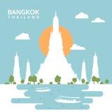 Wat Arun Temple, Bangkok, Thailand, Reiseschattenbildvektor Lizenzfreie Stockfotos