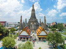 Wat Arun Temple and Chao Phraya Riverside in Bangkok Thailand. Stock Images