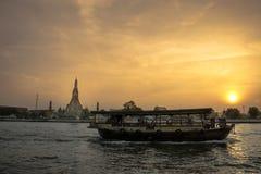 Wat Arun, The Temple of Dawn, Bangkok, Thailandia. Chao Phraya river and Wat Arun, The Temple of Dawn, Bangkok, Thailandia Royalty Free Stock Photo