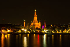 Wat Arun or Temple of Dawn at beautiful night scene. Royalty Free Stock Photo